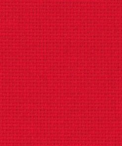 A close up on the texture of fourteen count aida fabric, due to the weave the holes are clearly visible. The colour is Christmas red which is a bright red