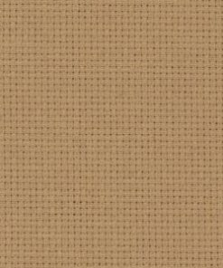 A close up on the texture of fourteen count aida fabric, due to the weave the holes are clearly visible. The colour is dirty aida which is a tawny brown