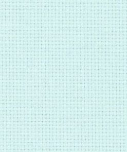 A close up on the texture of fourteen count aida fabric, due to the weave the holes are clearly visible. The colour is ice blue which is a light, minty blue