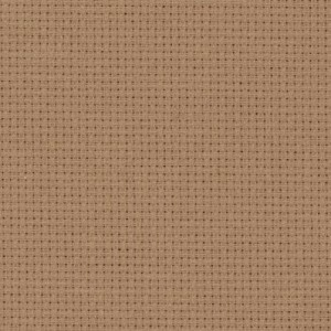A close up on the texture of fourteen count aida fabric, due to the weave the holes are clearly visible. The colour is khaki which is a medium sandy brown