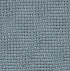 A close up on the texture of fourteen count aida fabric, the holes are clearly visible. The colour is misty blue which is a deep blueish grey
