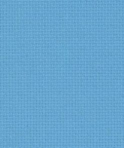 A close up on the texture of eighteen count aida fabric, the holes are clearly visible. The colour is soft blue which is a medium baby blue