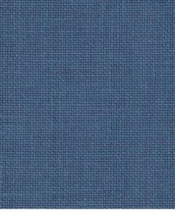 A close up on the specialised, cross stitching linen fabric in blue spruce