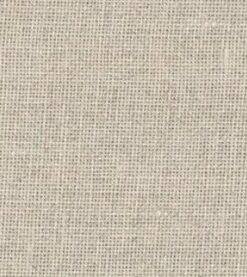 A close up on the specialised, cross stitching linen fabric in driftwood, a dark beige colour