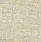 A close up on the specialised, cross stitching linen fabric in flax, a dark beige colour