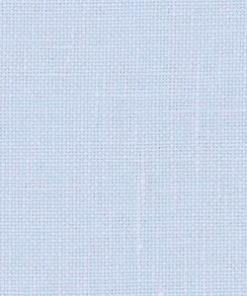 A close up on the specialised, cross stitching linen fabric in ice blue