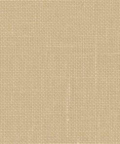 A close up on the specialised, cross stitching linen fabric in mushroom, a medium tan colour