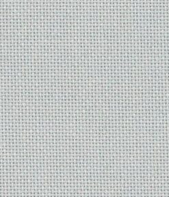 A close up on pewter lugana cross stitching fabric. The cloth is evenweave so the holes are clearly visible