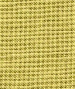 A close up on the specialised, cross stitching linen fabric in willow green, a bright greenish yellow
