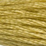 Colour 834 of DMC cross stitch floss which is Golden Olive Very Light