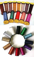 A collage of two images displaying shiny spools of threads in bright colours