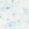 A closeup of Mill Hill brand Starlight Blue coloured perforated paper for cross stitch. It looks like blue and white clouds with big blue stars on it.