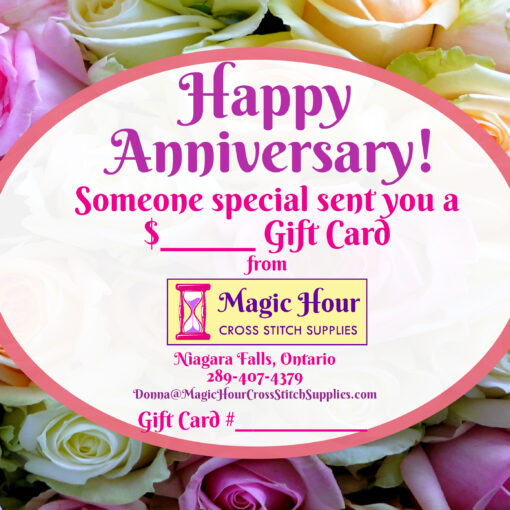 A gift card for a Happy Anniversary, with colourful roses in the background