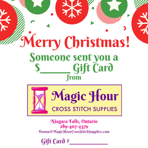 A Christmas Gift card, with bright red and green balls at the top