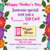 A Mother's Day gift card, with bright coloured flowers down the sides