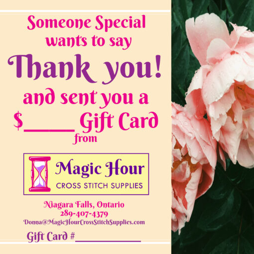 A gift card just to say Thank You to someone, in pretty pink with pink roses down the side